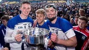 Waterford's Austin Gleeson, Martin O'Neill and Pauric Mahony celebrate with the trophy