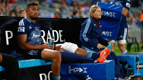 Charles Piutau of the Blues sits injured on the bench during the round 12 Super Rugby match between the Blues and the Force