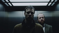 Rupert Evans as the haunted fillm archivist David and Steve Oram as Inspector McNamara  in The Canal