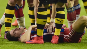 Robert Lewandowski collided with Borussia Dortmund goalkeeper Mitch Langerak during the German Cup semi-final at the Allianz Arena