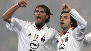 Paolo Maldini (L) with Andrea Pirlo