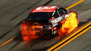 Austin Dillon's Bass Pro Shops Chevrolet goes up in flames at the NASCAR Sprint Cup Series GEICO 500 at Talladega Superspeedway in Alabama
