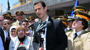 President Assad made the remarks at an appearance at a Damascus school