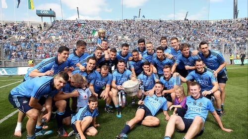 The Dublin team celebrate in front of Hill 16 after winning the 2014 Leinster title