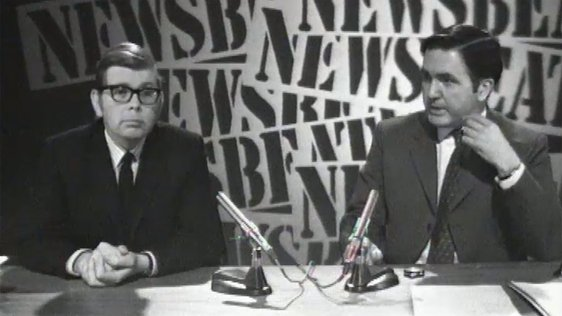 Presenters George Devlin and Frank Hall at the 'Newsbeat' newsdesk.