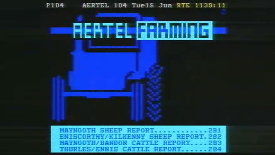 A screenshot from RTÉ's Aertel service which was launched in June 1987.