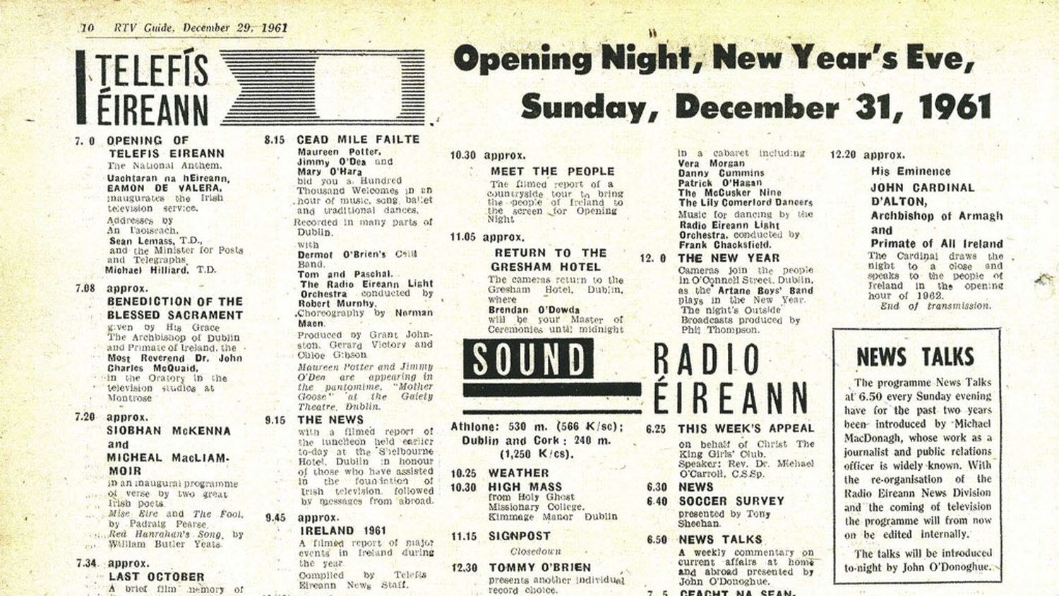 RTÉ Archives | Media | RTV Guide Opening Night