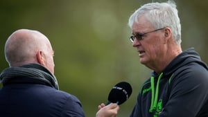 Ireland head coach John Bracewell (R) speaks to RTÉ's John Kenny