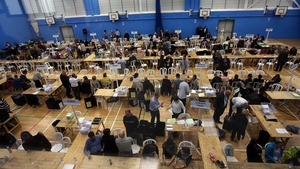 Votes for North Warwickshire are sorted and counted at Coleshill Leisure Centre