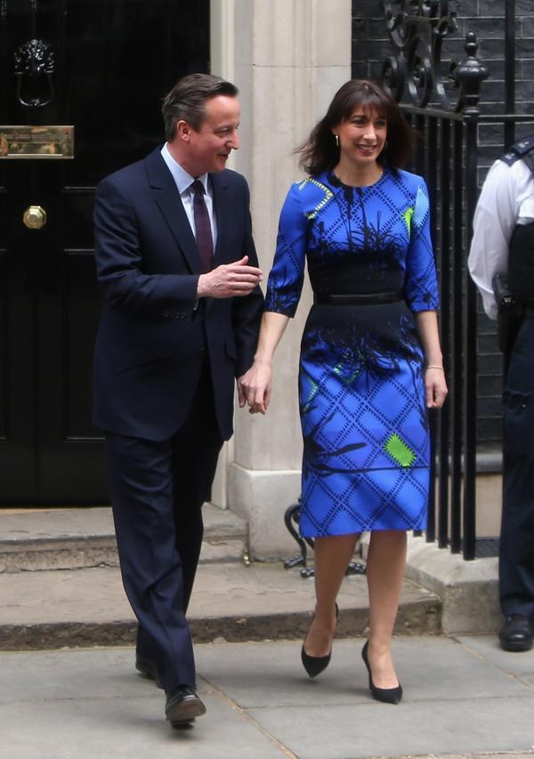 David Cameron and his wife Samantha outside No 10 Downing Street