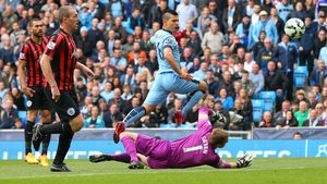 Sergio Aguero bagged a hat-trick for City