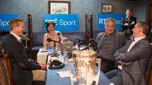 Presenter Joanne Cantwell with Henry Shefflin, Tomas Mulcahy and Liam Sheedy at the Ballyhale Shamrocks GAA club