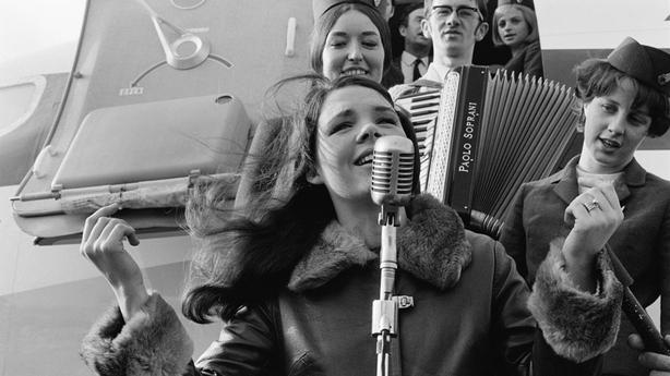 Dana at Dublin Airport following Eurovision win (1970)