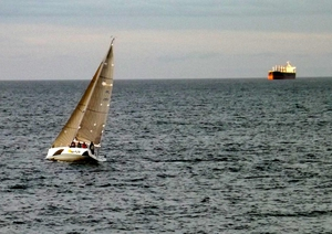 A yacht and a tanker off the coast of Greystones, Co Wicklow (Pic: Brian Keeley)
