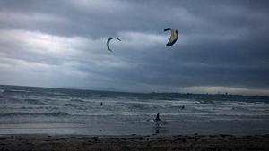 Kite surfing at the south beach in Rush, Co Dublin (Pic: Bernard Gillespie)