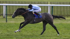 Ryan Moore riding Consort to win the Derrinstown EBF Stallions Maiden Stakes at Newmarket racecourse in 2014