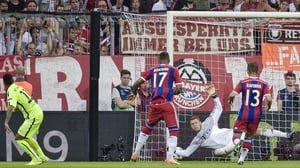 Neymar (L) scores for Barcelona against Bayern Munich in the Champions League at the Allianz Arena, Munich
