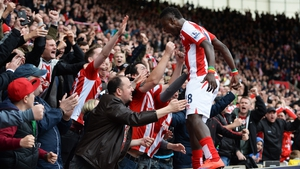Mame Biram Diouf of Stoke City celebrates with fans during the  Premier League match against Tottenham Hotspur at Britannia Stadium, Stoke on Trent
