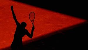 Grigor Dimitrov serves at the Mutua Madrid Open tennis tournament at the Caja Magica in Madrid, Spain