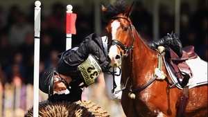 Niklas Bschorer takes a tumble at the Cross-Country Test at the Badminton Horse Trials in Gloucestershire
