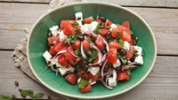 Watermelon and Feta Salad - This recipe also works well with Galia or Honeydew melon if watermelon is not in season. You can pare it down to the essential contrasts and serve no more than a plate of chunky watermelon sprinkled with feta and toasted pumpkin seeds that gets drizzled with lime juice at the last minute. Once made, I promise you that it will become a regular favourite on your summer table.