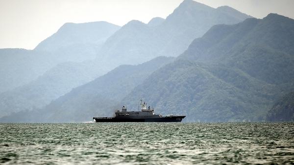 A Royal Malaysian Navy ship patrols along the Thai-Malaysia border looking for boats containing migrants