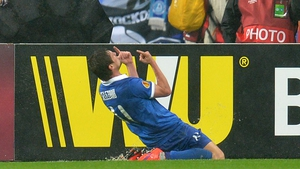Yevhen Seleznyov celebrates the biggest goal of his career