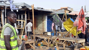 Rescue workers at the scene of a suicide bomb blast in Maiduguri in March