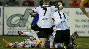 Dundalk players celebrate John Mountney's goal