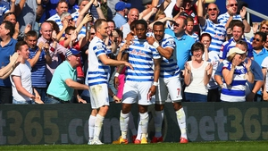 Leroy Fer is congratulated by his team-mates after giving QPR the lead at Loftus Road