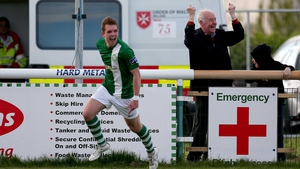 The crowd went wild at the Carlisle Grounds when Peter McGlynn hit the back of the net
