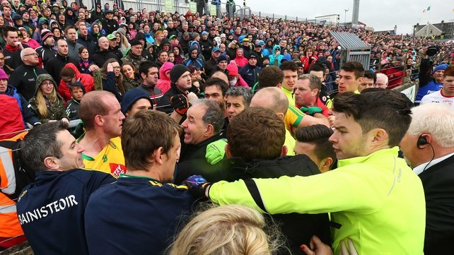 Tyrone and Donegal fined over half-time brawl