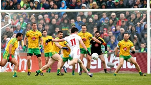 Tyrone's Mattie Donnelly shoots narrowly wide in injury-time
