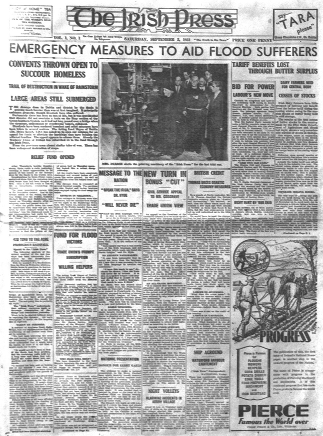 Page one of the first Irish Press (1931)