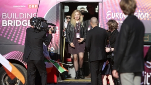 Molly Sterling arrives at the Euovision opening ceremony on May 17