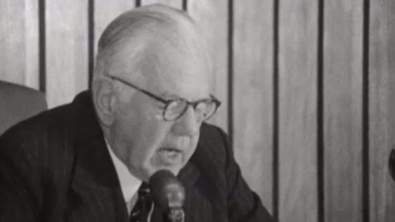 Lord Cameron addressing the commission on 18 April 1969.