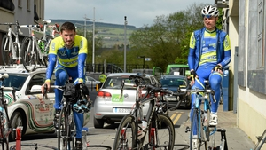 Ronan Killeen, left, and Peter Kirwan (both Lucan Stagg Cycles) warm-up before stage 2