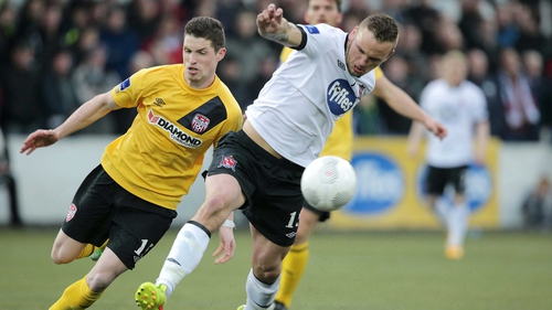 Paddy Barrett scored with two long-range efforts for Dundalk at the Mardyke