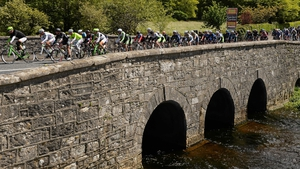 A view of the peloton as they make their way through Clarinbridge, Co Galway