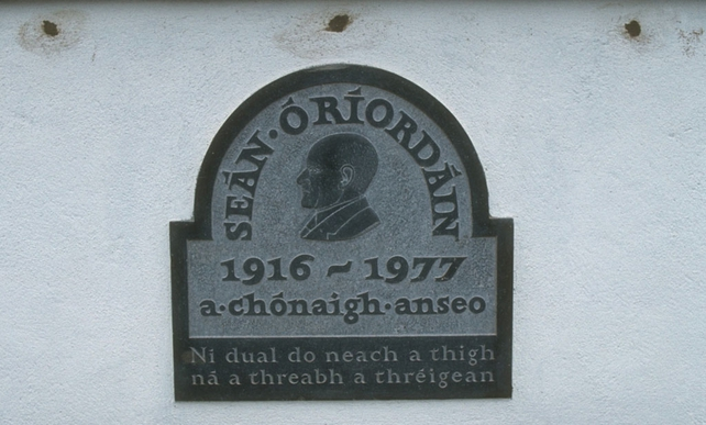 Plaque at the home of Irish poet Sean O'Riordan in Inishcarra Co. Cork