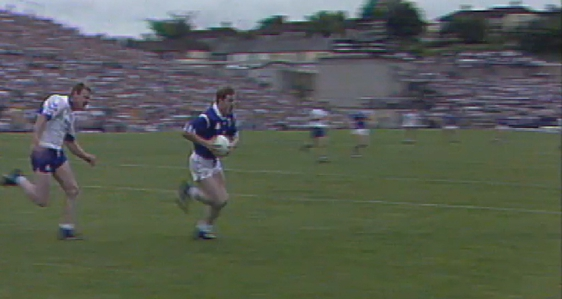 Fintan Cahill breaks through for Cavan against Monaghan in 1995