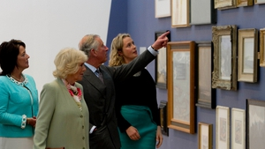 Prince Charles and his wife Camilla are shown a piece by Jack Butler Yeats