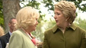 Camilla and Mary McAleese visit WB Yeats' grave in the grounds of the church