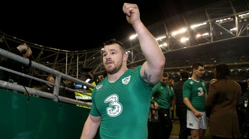 Cian Healy celebrates Ireland's Six Nations win earlier this year