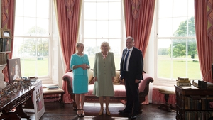 Duchess of Cornwall (C) poses with with owners of Lissadell House Constance Cassidy and Eddie Walsh