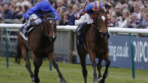 Legatissimo (blue and orange silks) clocked the second-fastest time in the history of the 1000 Guineas when scoring on the Rowley Mile