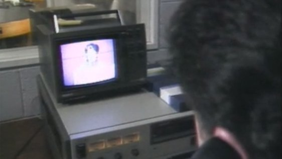 Gerry Murray a technician in the Sligo studios sends pictures from a video tape to Dublin electronically.