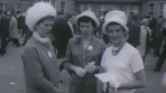 Three ladies attending the 1962 Irish Sweeps Derby.