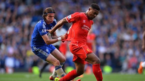 Liverpool's Jordon Ibe in action against Chelsea's Filipe Luis