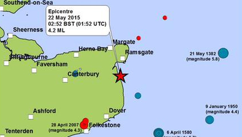 The BGS said that the earthquake's epicentre was approximately 7km south of Ramsgate